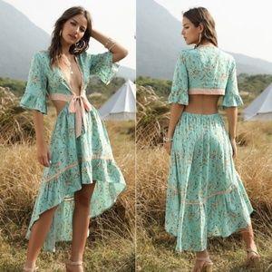 Floral print Cut out Plunging neckline MaXi dress